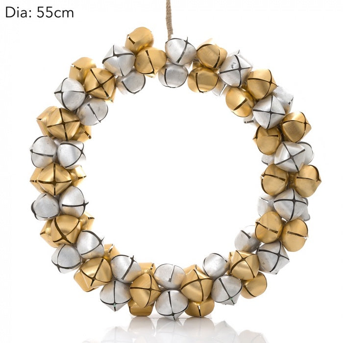 gold and silver bell wreath - ideal for christmas, available at the white place, orange nsw