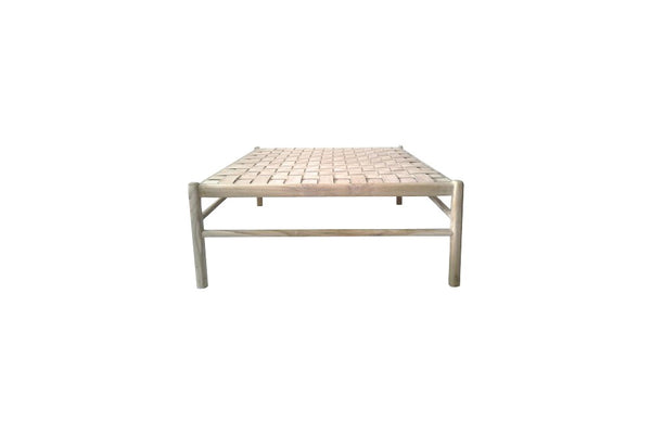 Square woven nude leather coffee table