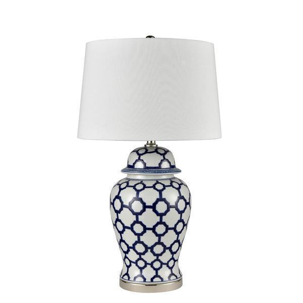 One World Blue and White lamp with white shade - available at the white place, orange nsw