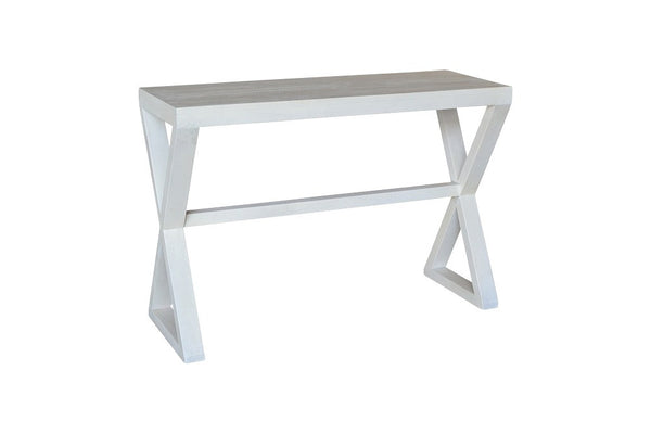 white wood console