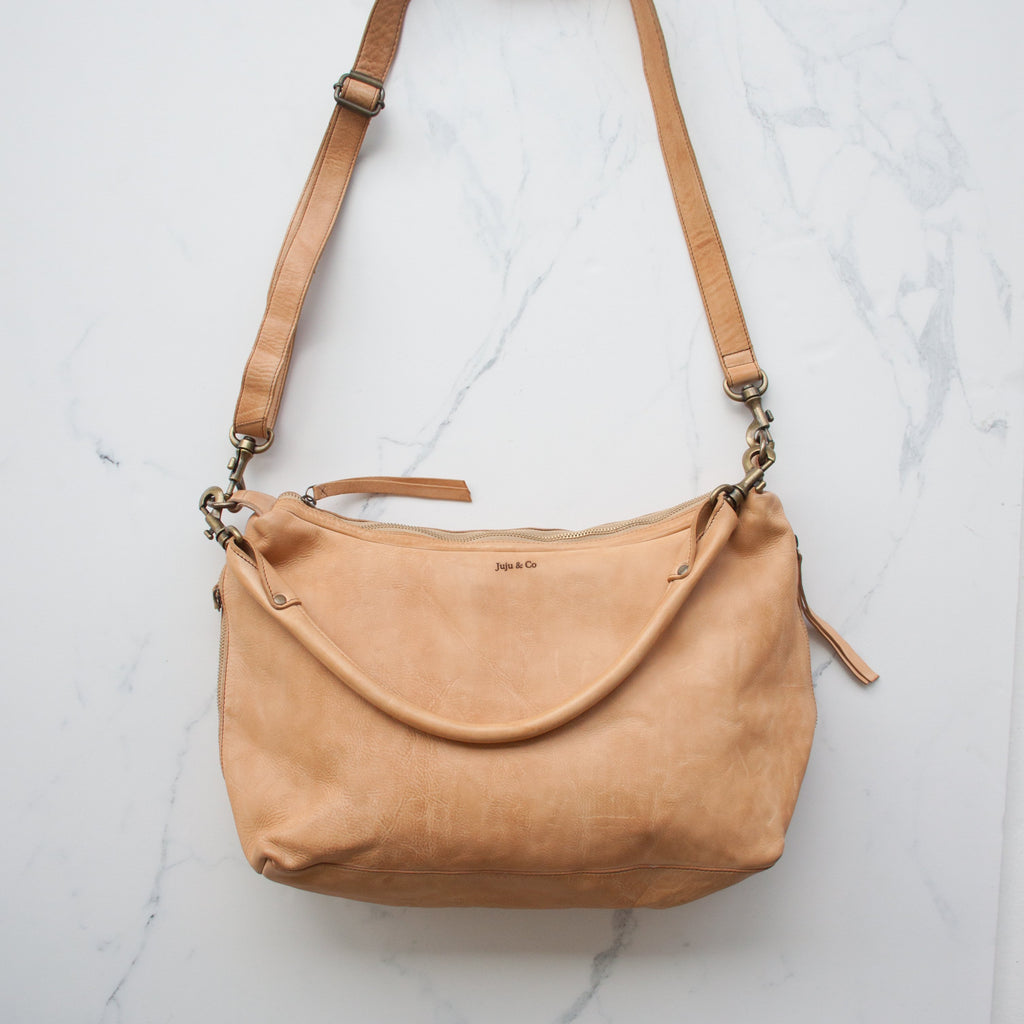 Juju & Co - slouchy small leather handbag in tan, available at the white place, orange nsw. free shipping in australia