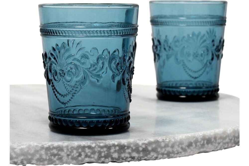 decorative blue, ink or navy tumbler or glass for water for hire for parties. events & weddings in orange nsw from the white place lifestyle and events