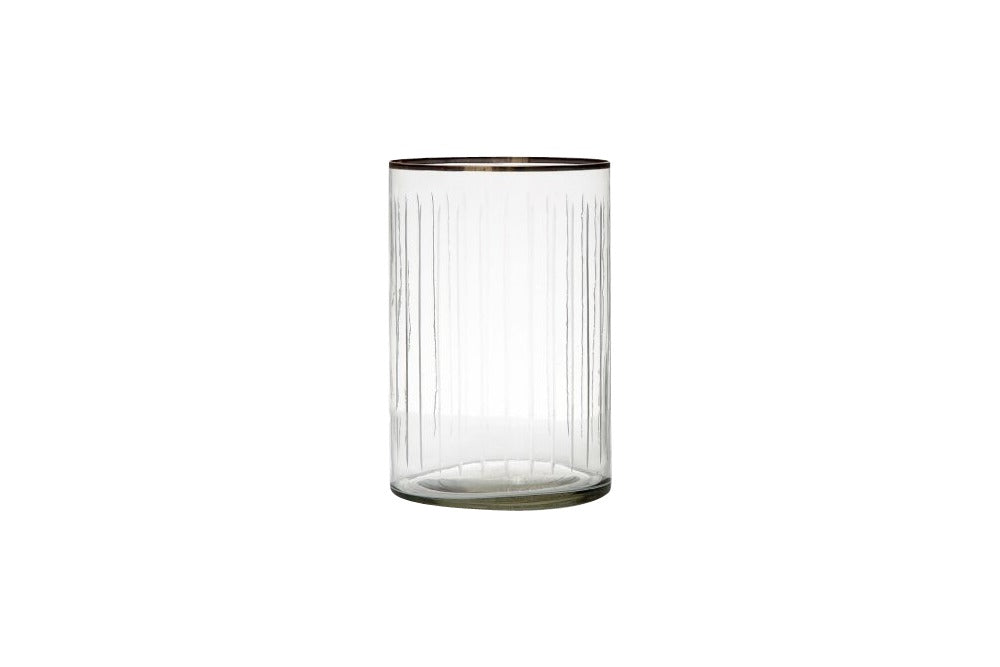 small and large line cut glass hurricanes available for hire. use for candles or flowers on a table setting for wedding, event or party.