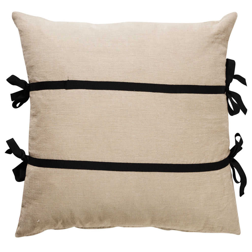 bartley ribbon cushion - natural linen with black ribbon, available at the white place