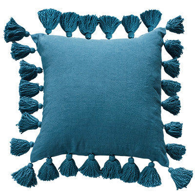 Canvas and Sasson tassel blue cushion - available at the white place, orange nsw