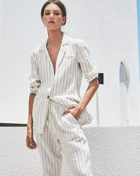 100% linen pin stripe jacket - free shipping