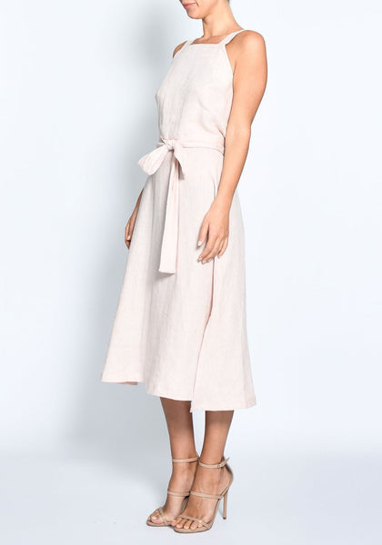 Pol Clothing Mohave midi dress - 100% linen in blush. Available at the white place, orange nsw. Free shipping within australia.