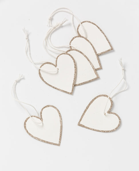 Holiday hanging paper heart with gold - set of 6