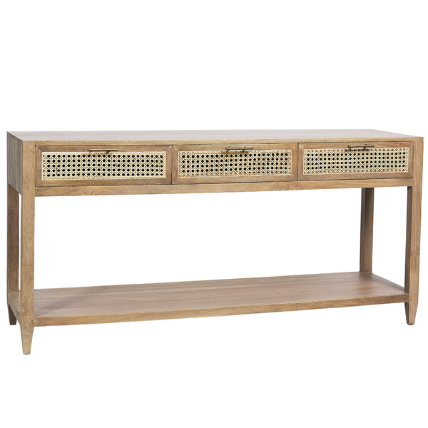 Rattan console with shelf