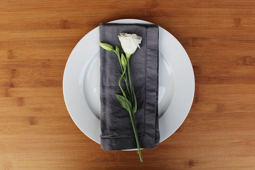 hire charcoal linen napkin with hemstitch trim for events and weddings in central west and orange nsw from the white place lifestyle and events