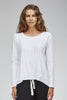 white Slub Long Sleeve Top