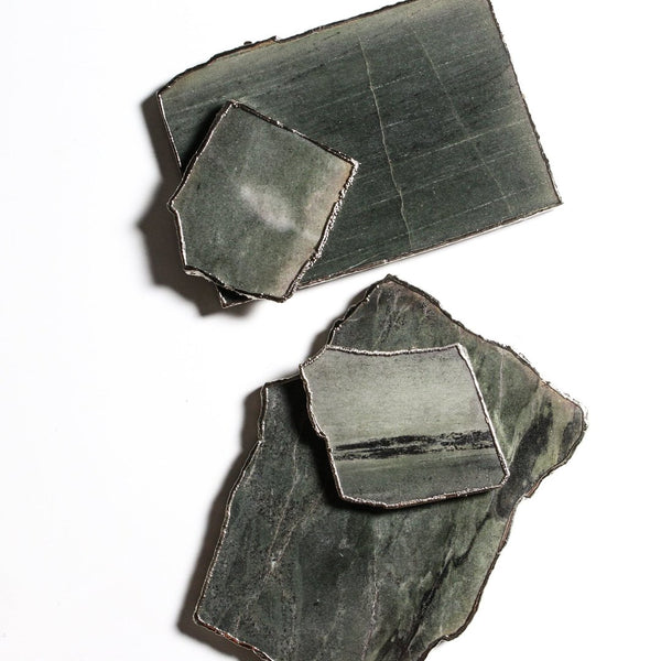 Green aventurine serving board and coasters