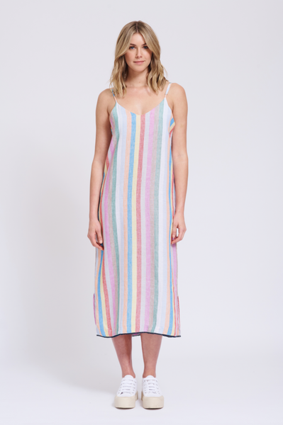 Alessandra linen stripe maxi dress - free shipping