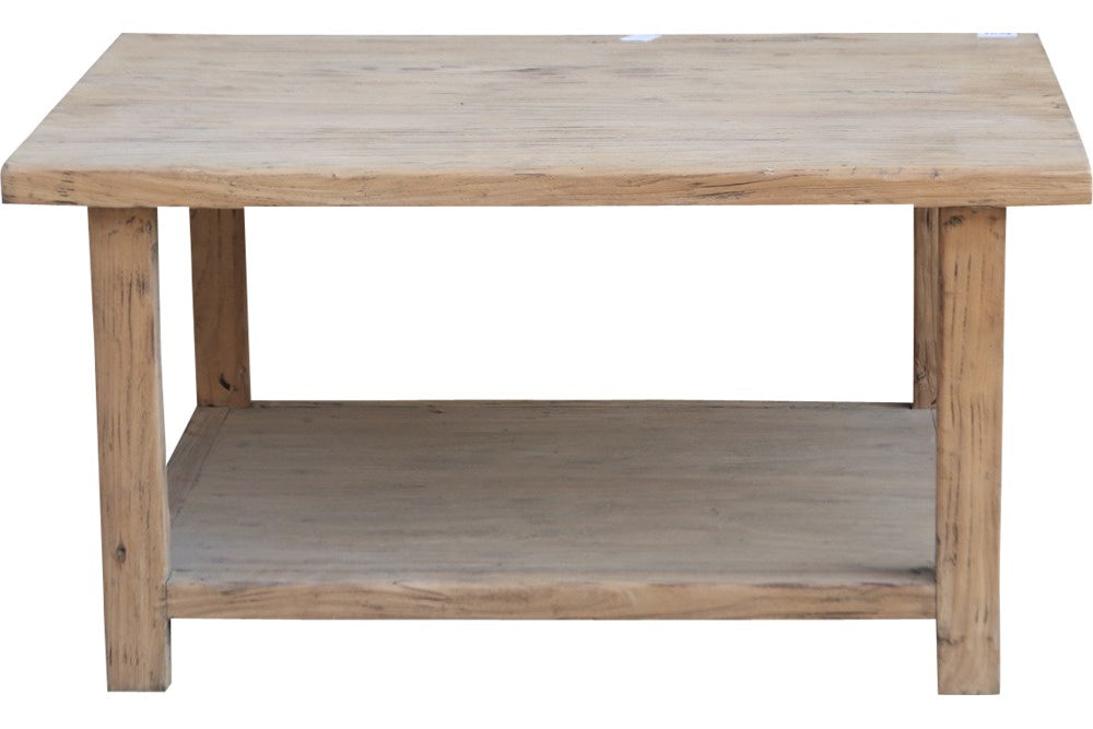 wood coffee table with bottom shelf