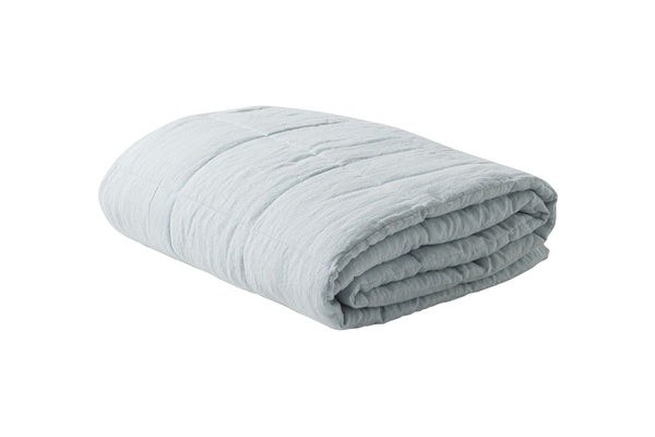 Linen Quilted Blanket in shell or duck egg blue available for purchase at the white place, orange nsw
