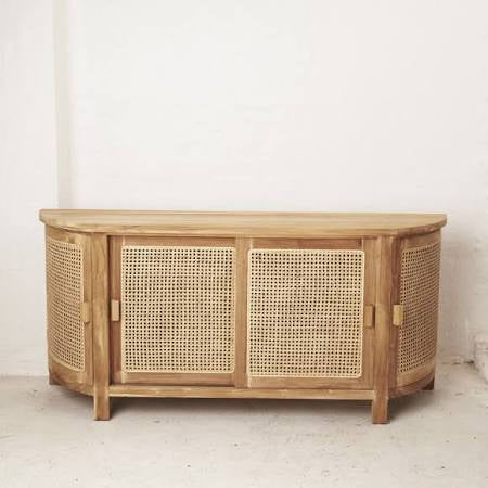 Rattan curved console