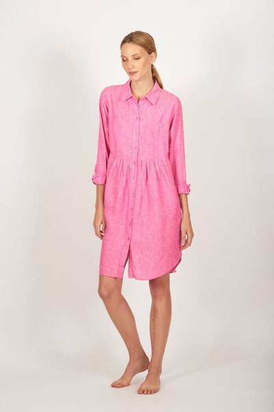 Bright pink, button linen dress - free shipping