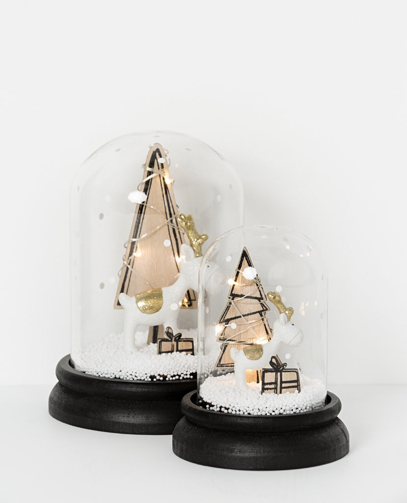 Noir LED snowdome with reindeer and tree