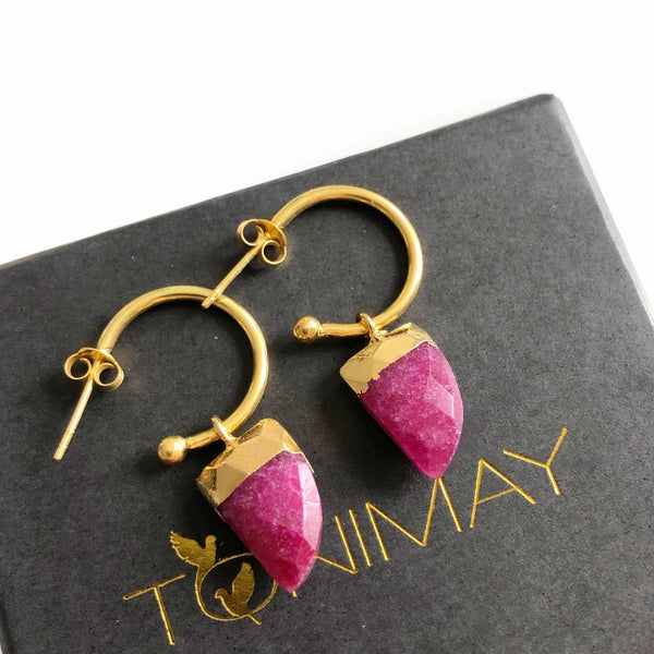Gold and ruby earrings - free shipping