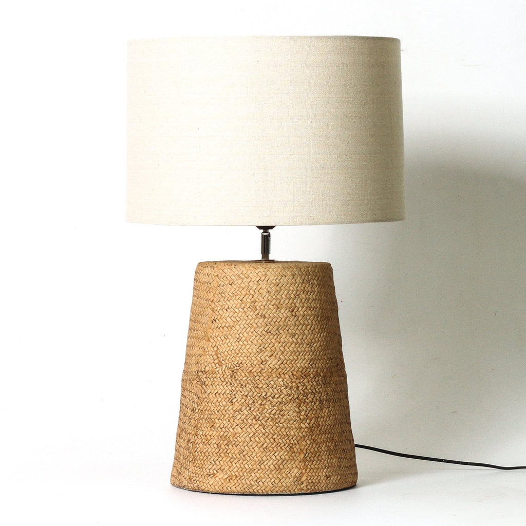 rattan and linen table lamp - available at the white place, orange nsw