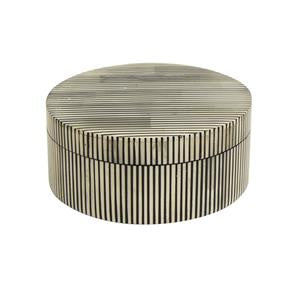 cleo stripe round box - available at the white place, orange