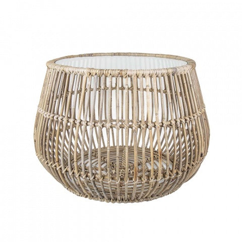 round rattan side table - available at the white place, orange nsw