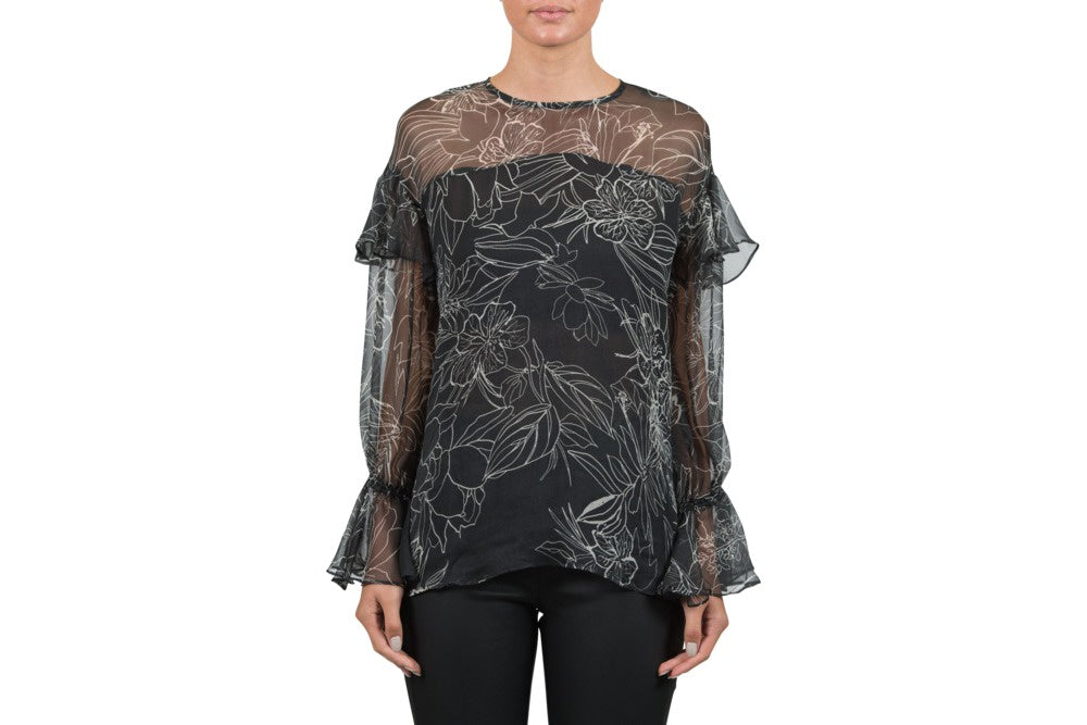 chalice clothing Gorgeous black silk floaty frill top with white swirl pattern top - frill detail on shoulder and at cuff. available for purchase at the white place, orange nsw - free shipping within australia