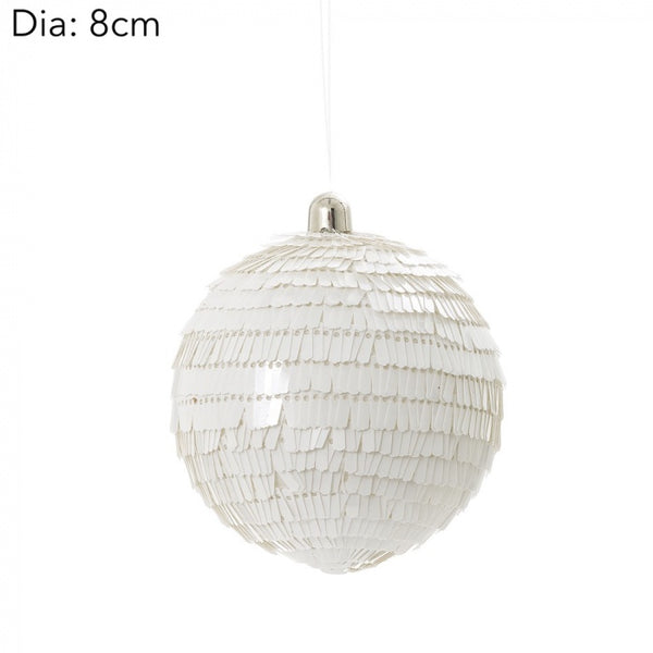 Sequin white bauble