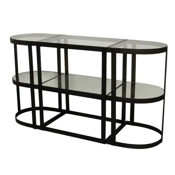 Three part black and glass console