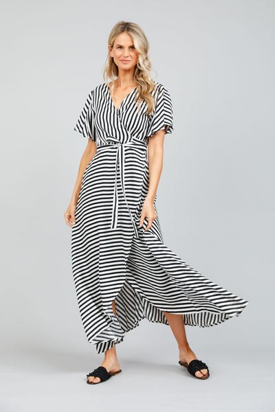 Tropics wrap dress in black and white stripe - free shipping