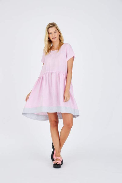 Pink linen Alessandra dress - free shipping