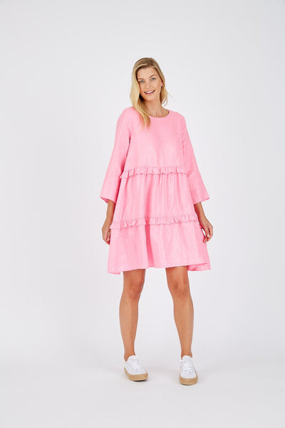 pink lurex alessandra linen dress - free shipping