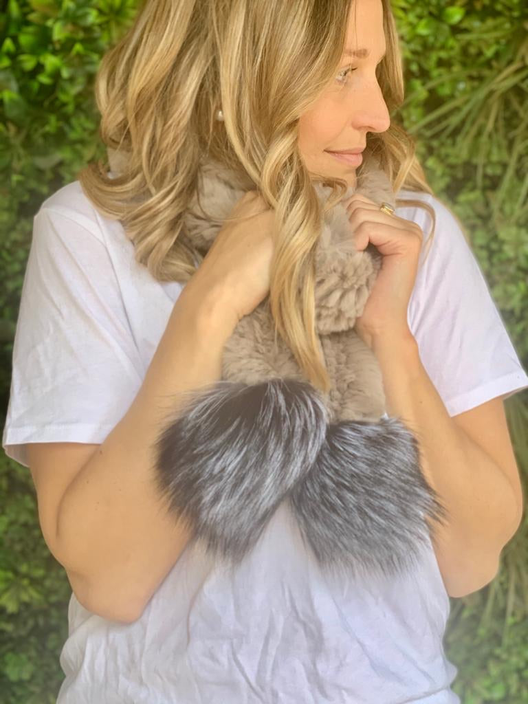 beige fur scarf - with pom poms available at the white place, orange