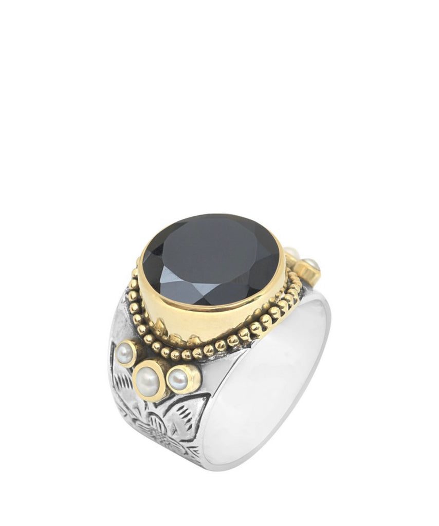 large black onyx sterling silver ring, available at the white place, orange