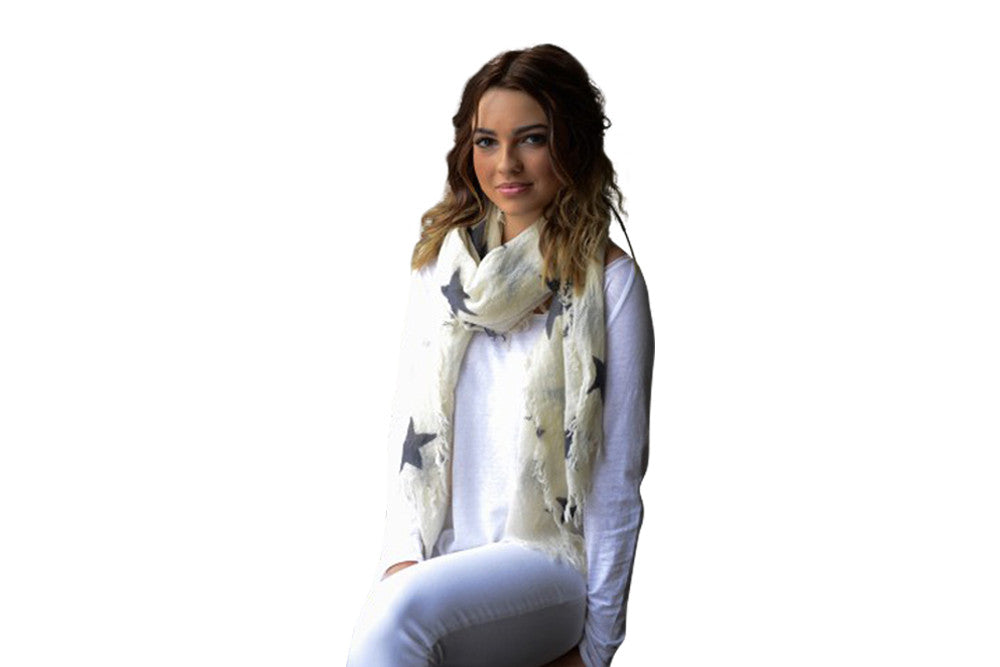 starry night scarf white with charcoal