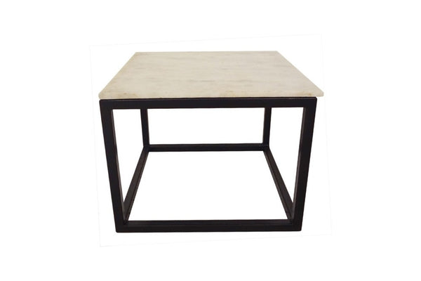 black metal and marble square side table