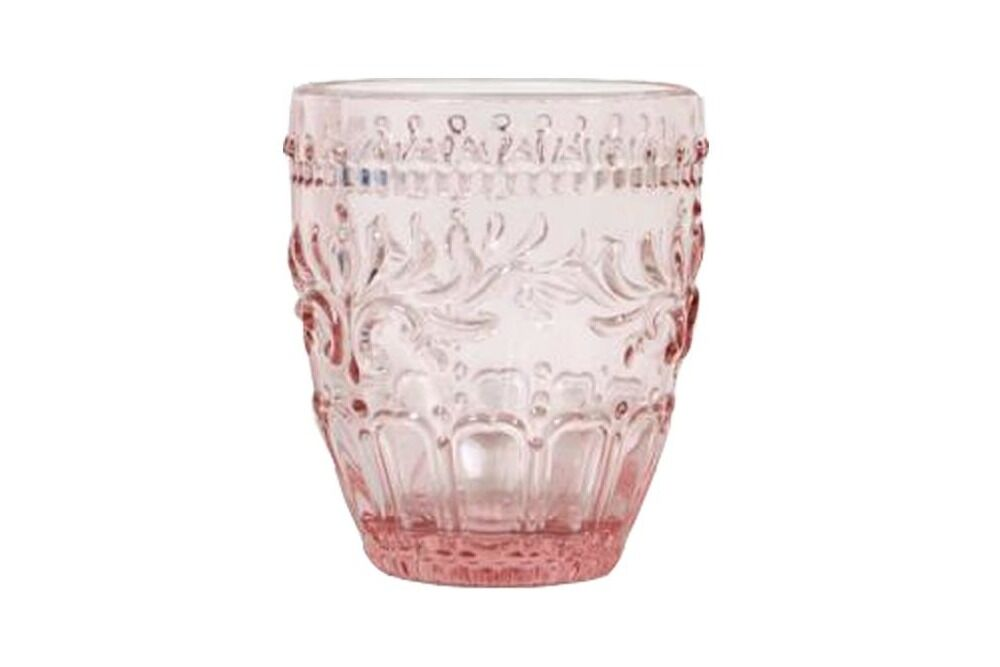 pink or blush decorative glass or tumbler for water for hire for parties, events & weddings - available in orange or central west nsw for hire from the white place lifestyle and events