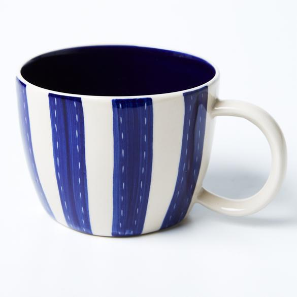 Blue stripe chino mug by Jones and Co - available at the white place, Orange nsw