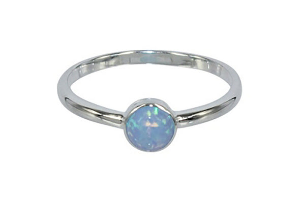 sterling silver round opal ring