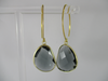 S925 Gold plated quartz tear drop