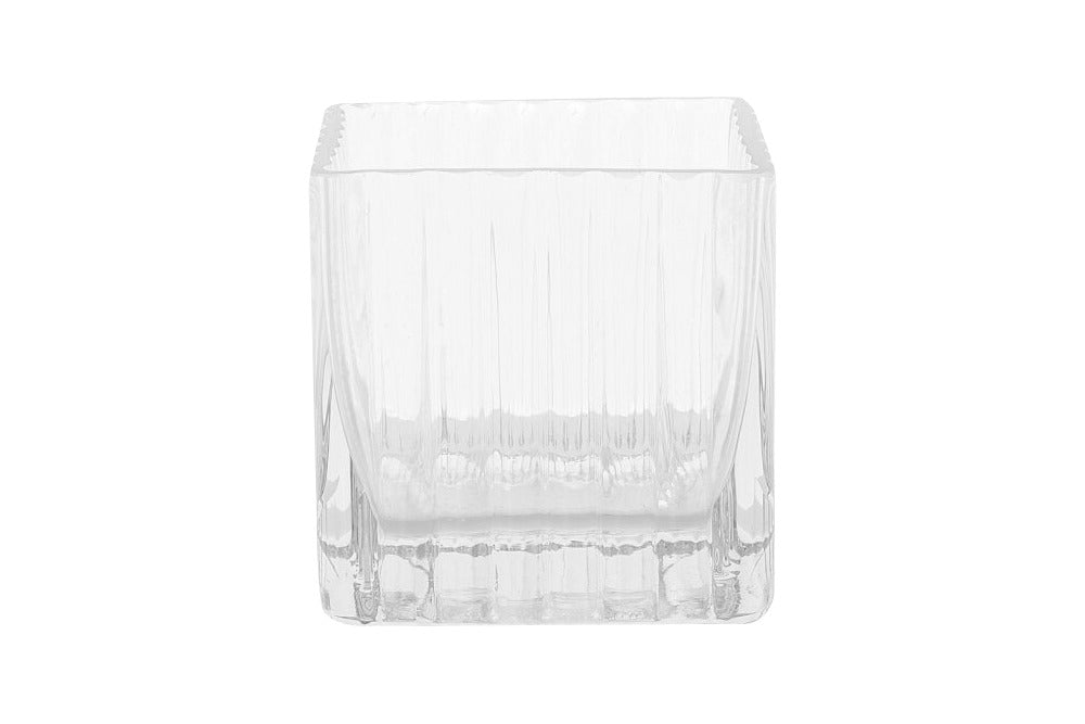 square glass vase for hire.  use for fresh flowers or a candle. available for hire for events, weddings or special occasions.