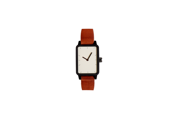 #3 32mm tan leather / black trim / white face