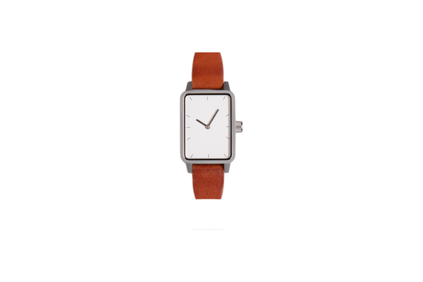 #3 32mm tan leather / silver trim / white face