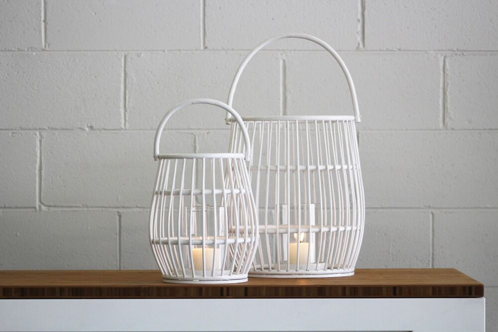 small and medium white lantern, add a candle for hire for parties, events & weddings in orange and central west nsw