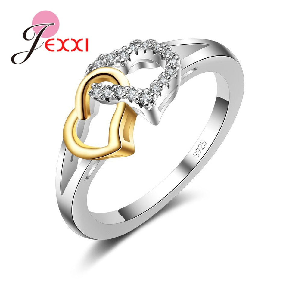 Cubic Zirconia Heart Shaped Sterling Silver (925) Ring - Gifts Galore Store