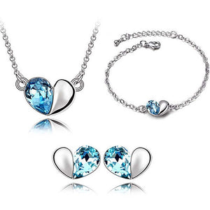 3pc Heart Jewellery set Blue or Red (Necklace, Bracelet, Earrings) - Gifts Galore Store
