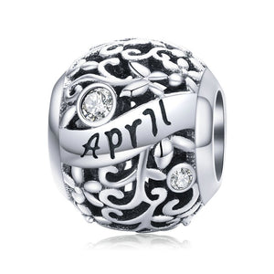 925 Sterling Silver Charm Birthstone Pendant Birthday Gift will fit Pandora and chamilia - Gifts Galore Store