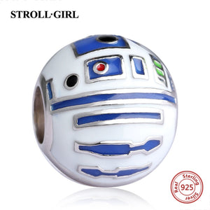 R2-D2 925 sterling silver beads will fit original Pandora and chamilia bracelets jewellery - Gifts Galore Store