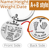 Personalized Baby Keychain Name Date Of Birth Weight Height For Newborn Key ring New Mum - Gifts Galore Store