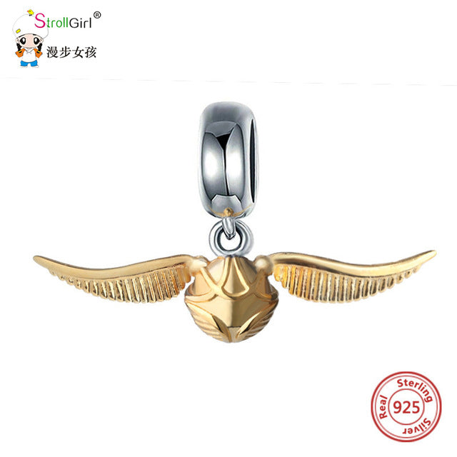 Golden snitch charm 925 sterling silver beads Fits original Pandora and chamilia - Gifts Galore Store